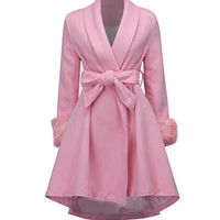 Pink Tie Waist Faux Fur Cuff Dipped Hem Wool Blend Coat