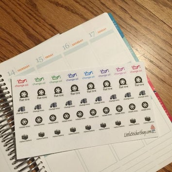 44 Car maintenance stickers for your life planner. Removable