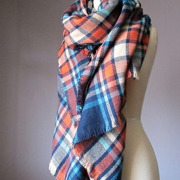 Tartan scarf, plaid scarf, blanket scarf, oversized winter scarf, Navy scarf, Orange scarf