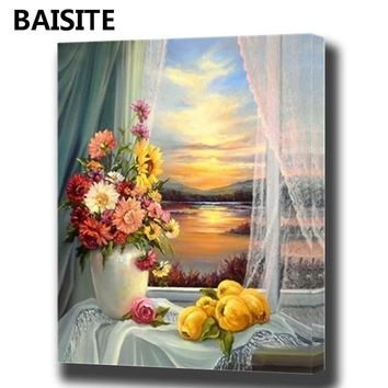 BAISITE DIY Framed Oil Painting By Numbers Animal Pictures Canvas Painting For Living Room Wall Art Home Decor Y5797