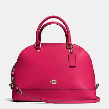 New COACH F57524 Sierra Dome Satchel Handbag Purse Shoulde Bag Bright Pink Leather