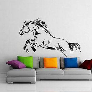 Wild Horse Mustang Jump Freedom Animal DECOR Wall MURAL Vinyl Art Sticker Unique Gift M334