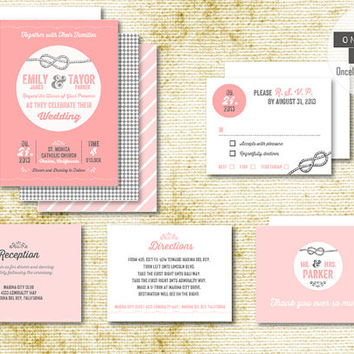 Tie the Knot Modern Wedding Invitation Set. Complete Package. Save the Dates. Invites. RSVP. Thank You Cards. Blush Pink