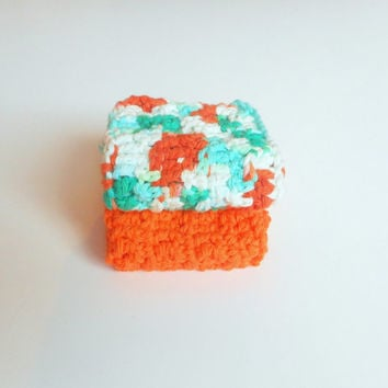 Cotton Face Cloths in Tangerine and Turquoise, Crochet Set of Two, Waffle Stitch ready to ship.