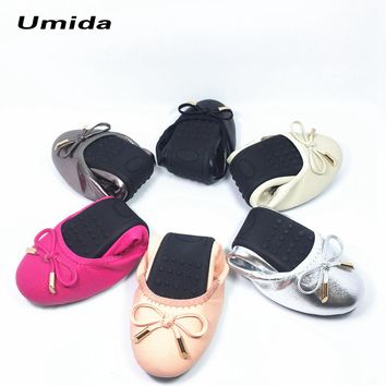 Women Genuine Leather Shoes Ballet Flats Foldable Travel Shoes