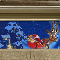 Christmas Garage Door Cover Banners 3d Santa In A Sleigh Holiday Outside Decorations Outdoor Decor for Garage Door G39