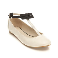 Dainty Cream T-bar Flat - Shoes