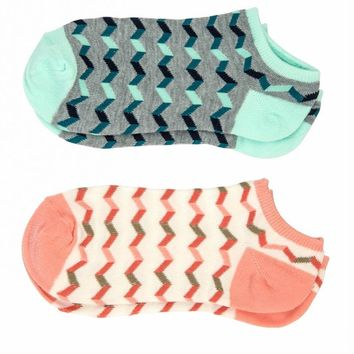 Sofra Coral/Turquoise Chevron No-Show Socks 2-Pairs