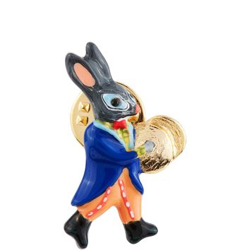 N2 by Les Néréides BRASS BAND RABBIT AND CYMBAL PIN