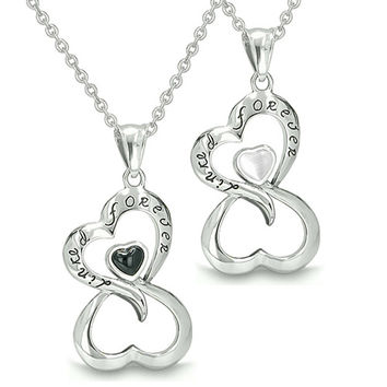 Infinity Hearts Linked Forever Love Couple Yin Yang Simulated Onyx White Cats Eye Pendant Necklaces