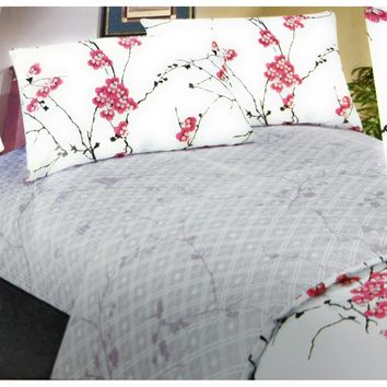 Blossoming Floral Sakura Cherry Blossoms Red White Purple Fitted Sheets Set & Pillow Cases Shams Covers (FTS8318)