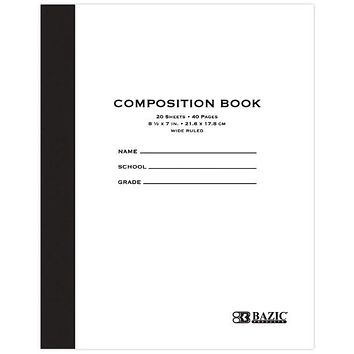 "BAZIC 20 ct. 8.5"""" x 7"""" Manila Cover Composition Book Case Pack 24"