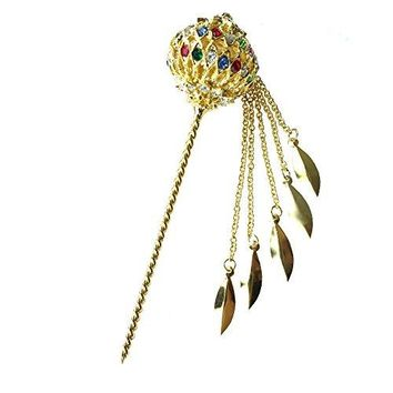 Siwalai Thai Traditional Gold Plated Multicolor Crystals Hair Pin 5 Inches
