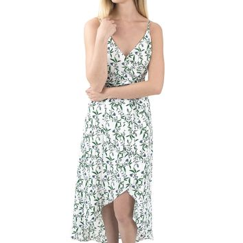 Women's Floral Print Wrap Dress with High Low Hemline