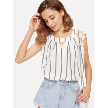 White Lace Shoulder Cutout Pleated Neck Striped Top
