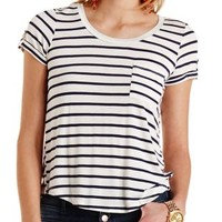 Combo Striped Flyaway Pocket Tee by Charlotte Russe