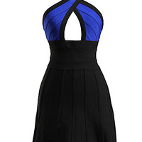 Black and Blue Sexy Cut A Line Party Bandage Dress