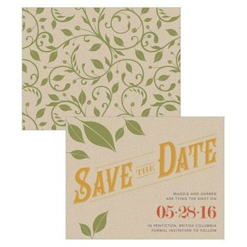 Vineyard Save The Date Card Saffron Yellow (Pack of 1)