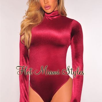 Wine Velvet Key Hole Back Long Sleeves Bodysuit