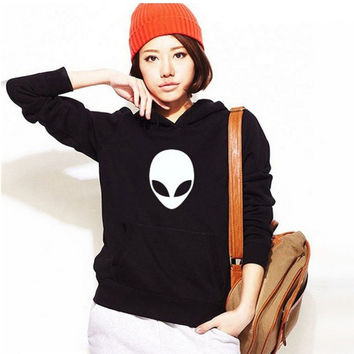 Black Printed Long Sleeve Hoodie Sweater