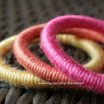 Three Yarn Wrapped Bangle Bracelets - Yellow, Orange, and Pink
