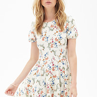 FOREVER 21 Floral Foliage Skater Dress White/Multi