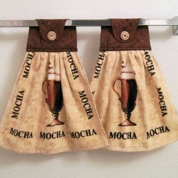 Hanging Kitchen Towel, Coffee Theme Kitchen, Mocha Kitchen Towel, Coffee Hanging Kitchen Towel