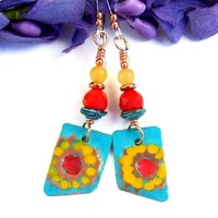 Hand Painted Sunflower Earrings, Red Turquoise Yellow Boho Gemstone Flower Spring Jewelry