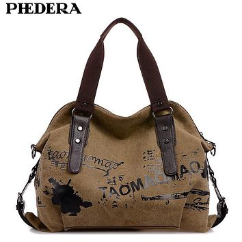 PHEDERA Brand Printing Canvas Women Shoulder Bags Pattern Casual Female Handbags Vintage Women Hand Bag Khaki/Coffee/Red Purse