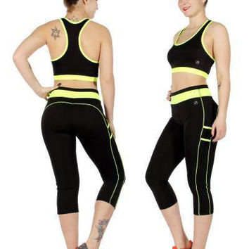 Black & Neon Activewear Workout set  in One Size Fits S-L in 4 Colors