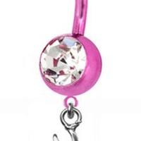 Browning PREMIUM Pink Titanium Anodized Sexy Belly Button Ring