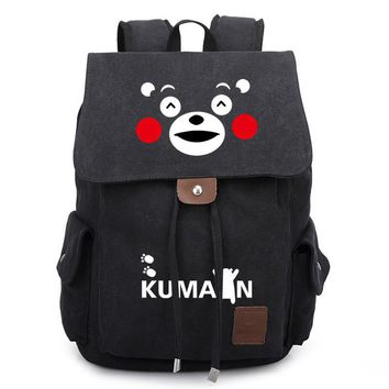 Japan Anime KUMAMON Mascot Smile Bear Printed Bag Backpack Travel Canvas Book School Men Women Boy Girls Bag Gift