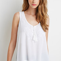 Rose-Embroidered Gauze Tank
