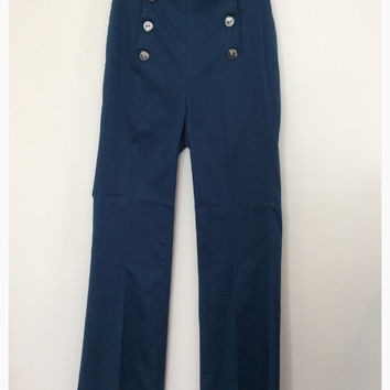 Corey Lynn Calter Elsa Wide Leg Sailor Pants In Sea Blue