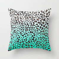 TEAL LEOPARD Throw Pillow by nataliesales | Society6