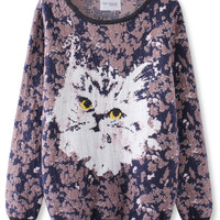 'The Savannah' Cat Printed Knitted Pullover