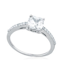 Ladies 925 Sterling Silver Square Radiant D-Cut Stone Engagement Ring
