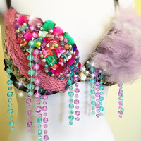 Rave bra, candyland, girly ravewear, rhinestone bra with tulle, festival top