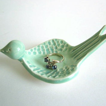 Ring dish, Mint green, Engagement Ring holder, Ceramic Jewelry dish, Wedding ring holder, Candle holder,  Clay  Pottery,