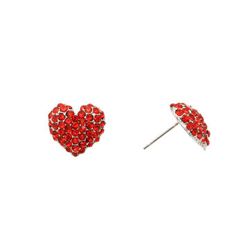 Red Stone Heart Earrings for Valentine's Day