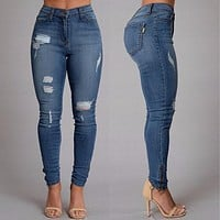 Classic Blue Low Waist Rips Slim Pencil Jeans