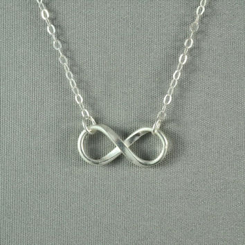 INFINITY Necklace, Forever LOVE, Fine Silver Charm, Sterling Silver Chain, Modern, Simple, Pretty, Lovely Necklace