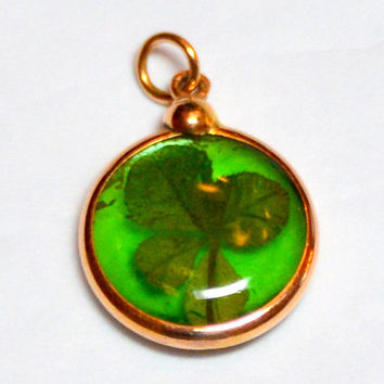 14K Antique Victorian Good Luck Real Four Leaf Clover Charm Pendant