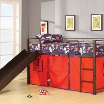 Willie collection brown coffee finish metal frame kids loft bed with slide and red tent covering bottom curtains