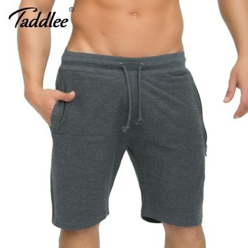 Taddlee Brand Men's Cotton Shorts Sports Running Gasp Gym High Stretch Boxers Bottoms Jogger Cargo Fitness Bodybuilding Trunks