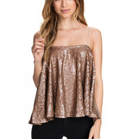 Sequin Cami Top in Gold