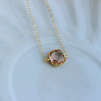 Dainty Blush Champagne Necklace 14k Gold Filled Chain - Charm Necklace Peach Pink Bridesmaid Necklace - Blush Wedding Jewelry Gift under 25