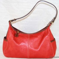 FOSSIL Red Leather Handbag Baguette Purse