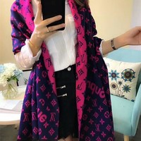Best Online Sale Luxury Louis Vuitton LV x Supreme Keep Warm Scarf Soft Scarves Winter Wool Beautiful Shawl #3
