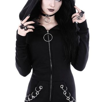 Goth Night O-Ring oversized hood Gothic Alternative Goth black hoodie